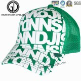 Nueva moda color de impresión digital Snapback Headwear Cap con bordado Badge Mesh Back