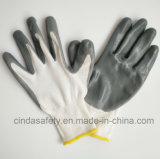 Перчатки покрынные нитрилом трудные защитные промышленные работая