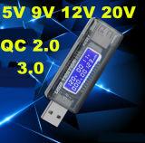 USB 5V 9V 12V 20V QC 2.0 3.0 Tensão OLED Corrente Capacidade Tester Capacidade Carregador USB Médico Comutador de energia Voltímetro de texto