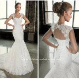 O tampão formal nupcial dos vestidos do laço da sereia Sleeves os vestidos de casamento G1750 da parte traseira oca