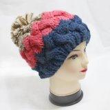 Женщин теплый Beanie Pompom Crocheted трикотажные Red Hat с