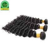 La soie noir naturel Deep bouclés Cheveux humains indiens de la trame