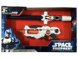 Brinquedo plástico de espada e arma com luz laser intermitente