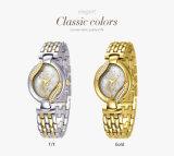 Belbi Luxuxdame-Quarz-Batterie-Schmucksache-Armbanduhr-Gold, T/T, silberner Blumen-Diamant-Vorwahlknopf-Entwurfs-Taktgeber