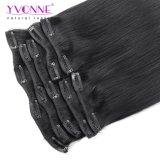 Yvonne estilo clásico recto Virgen brasileño Clip en la extensión de cabello humano.