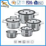 Aço inoxidável com o Cookware de alumínio do núcleo 9-Piece ajustado (CX-SS0904)