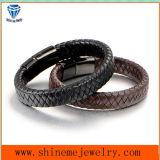 Mann-ledernes Armband und Cords mit Edelstahl-Faltenbildung-Armband (BL2862)