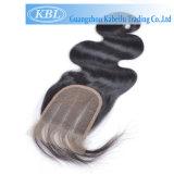 Kabielu 3parcialmente o pedaço de cabelo, Parte livre encerramento da base de seda rendas de cabelo Brasileiro Encerramento
