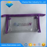 Los bordes de tejido de plata personalizada PVC bolsa de plástico transparente con cremallera