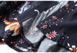 여자 복장의 미국 순서 실크 꽃 긴 셔츠 그리고 틈새 복장