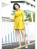 Хлопково-желтого повелительниц способа партия a втулки вскользь длинняя - линия платье рубашки