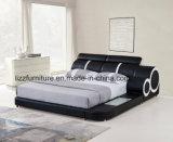 Кровать большого размера самомоднейшая кожаный двойная для спальни