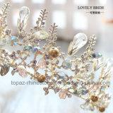 良質の水晶王冠の結婚式のガラスStonneのクリスマス・パーティのギフトのバロック式のティアラの花嫁の王冠(BC-10)