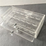 Caixa acrílica transparente personalizada da pestana de 3 séries