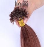 卸売24のインチのブラウンU/Nailの先端のクチクラによって一直線に並べられるバージンの毛