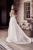 Le V-Collet nuptiale Chiffon de taille d'empire de robes de mariage perle les robes de mariage de plage Vg3792