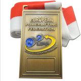 Medaglia su ordinazione del premio di sport del ricordo del metallo del nero del mestiere della fabbrica con il nastro (MD-07)