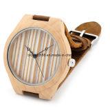 Novo Design simples de madeira de bambu assista com banda de couro