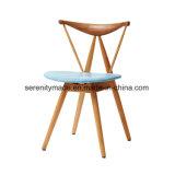Restaurante moderno mobiliário Cadeira de jantar em madeira com assento almofadado