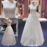 Alineada de boda Appliqued cordón acanalada del vestido de bola del amor
