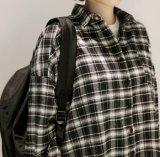 Camicia casuale della camicetta del plaid superiore dei vestiti
