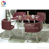 Estrutura de aço superior de vidro moderna mesa de jantar com cadeiras