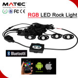 lampada fuori strada della roccia di controllo 9W 4X4 RGB di 4pods 8pods Bluetooth fuori dall'indicatore luminoso LED della roccia di RGB del camion della strada