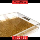 Transparentes 9 Reihen-Acrylkasino-Chip-Gleitbetriebs-Schürhaken-Chip-Tellersegment mit Verschluss Ym-CT09