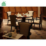 Burgundy 팔 의자를 식사하는 자주색 직물 호텔 대중음식점 가구 단단한 나무