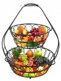 2 Teirs MetallKd Verpackungs-Frucht Baskt mit Handschaft