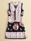 유럽 Floral Printed Sleeveless Sweet 고품질 디자이너 옷 숙녀 복장