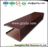 El panel de techo de aluminio del grano U de la fábrica del metal de madera de la dimensión de una variable con ISO 9001