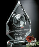 Trofeo cristalino de la concesión de Jingyage con el grabado del laser 3D para la decoración de la casa