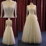 Vestido de casamento nupcial de perolização pesado das luvas longas do laço da V-Garganta gama alta