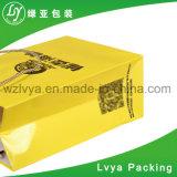 Saco de portador branco impresso costume do papel de embalagem Do punho liso da forma com reforço largo