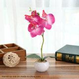 Пейзаж поддельные Цветы искусственные растения искусственные бабочка Орхидея с небольшой круглый сосуд