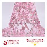 Fiore dentellare del tessuto del merletto di 3D Rosa