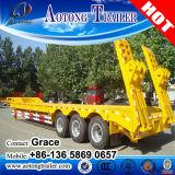 頑丈な三車軸半低の60トンの平面のトレーラーの掘削機の交通機関のための低いベッドのトラックのトレーラー