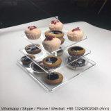 De vierkante AcrylVertoning van Cupcake van de Tribune van de Cake van het Huwelijk van de Toren van de Tribune Cupcake