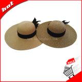 Chapéu de papel do disco flexível das mulheres do chapéu de Sun da palha