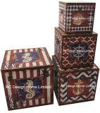 S/4 훈장 앙티크 포도 수확 나비 디자인 정연한 인쇄 PU Leather/MDF 나무로 되는 저장 트렁크 상자