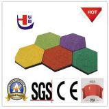 Красочные шестиугольник резиновые плитки, шесть боковые резиновые Асфальтоукладчики, Открытый резиновые полы Мат