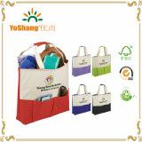 Kundenspezifischer kleiner zurückführbarer Einkaufen-Griff-Segeltuch-Beutel mit vorderer Tasche