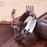 Braccialetto registrabile di modo dei monili dell'annata del braccialetto Handmade occidentale della pelle bovina