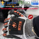 И Anti-Impact Cut-Resistance TPR перчатки, 13G Hppe Cut-Level оболочки 5, песчаный нитриловые упор для рук с покрытием, Anti-Impact TPR на задней стороне механик перчатки