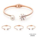 Zircon-Blumen-rundes Frischwasserperlen-Armband-kalte Farben-Charme-Armband-Form-Zubehör-Kostüm-Schmucksachen