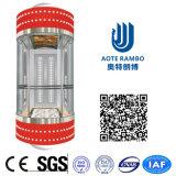 ascenseur panoramique sans engrenages rond en verre 400kg-1600kg dur sans pièce de machine (G02)