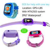 Montre imperméable à l'eau de traqueur des gosses GPS avec le bouton de SOS pour l'aide D27