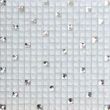 Mosaïques blanches superbes mélangées en verre et de miroir de diamant