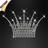 Pequenas Médias Crystal Hotfix Rhinestone T Shirt Coroa Transferências (CRW-067)